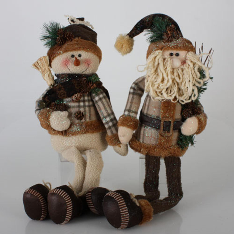 "Set of 2 Modern Lodge Long-Leg Santa Claus & Snowman Christmas Decorations 24"""