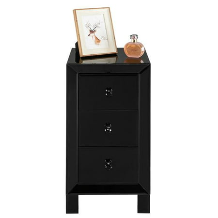 Bedside Table Nightstand,Modern and Contemporary Mirrored 3-Drawers Nightstand Bedside Table Black