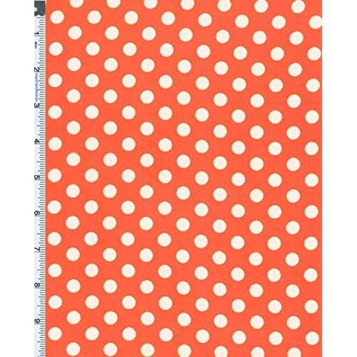 Orange/White Polka Dot Hi-Multi Chiffon, Fabric By the Yard