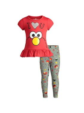 Sesame Street Elmo Baby Girls Ruffle Tunic Shirt & Leggings Clothing Set 18 Months