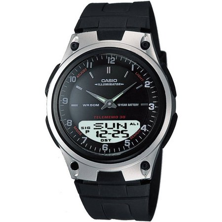 - Men's Ana-Digi Databank 10-Year Battery Watch, Black Resin Strap