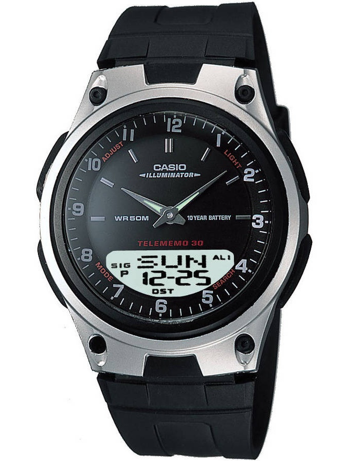Men's Ana-Digi Databank 10-Year Battery Watch, Black Resin Strap