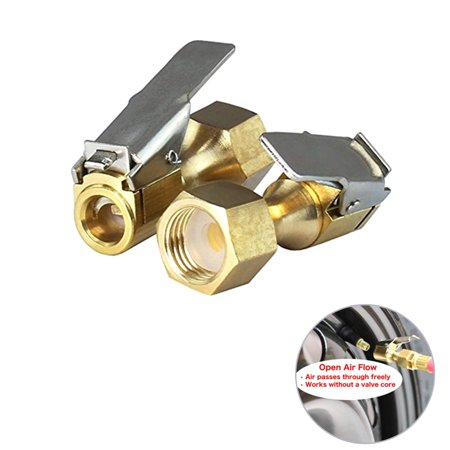 2pcs Open Flow Straight Lock-On Air Chuck with Clip for Tire Inflator Air Brass Tire Chuck