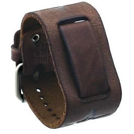 Icom Air Band (FST-BB 20mm Lug Width Brown Star Icon Wide Leather Cuff Watch Band )