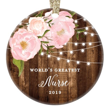 World's Greatest Nurse 2019, Best Nurses Christmas Ornament Pink Peonies Dated Xmas Farmhouse for Wife Daughter Woman Nursing Student 3