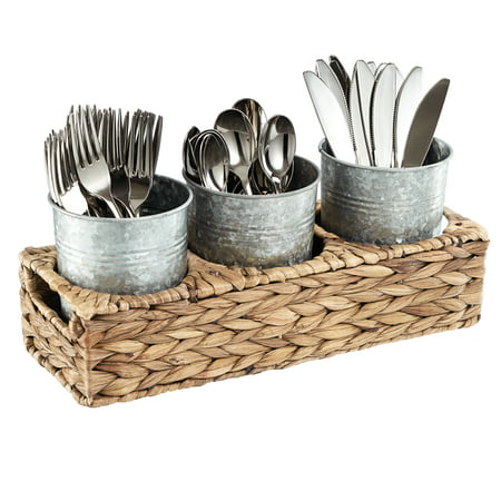 Garden Terrace Flatware Caddy Seagrass Caddy With 3 Galvanized Jars For Flatware, Napkins, Condiments Etc. Cups 5