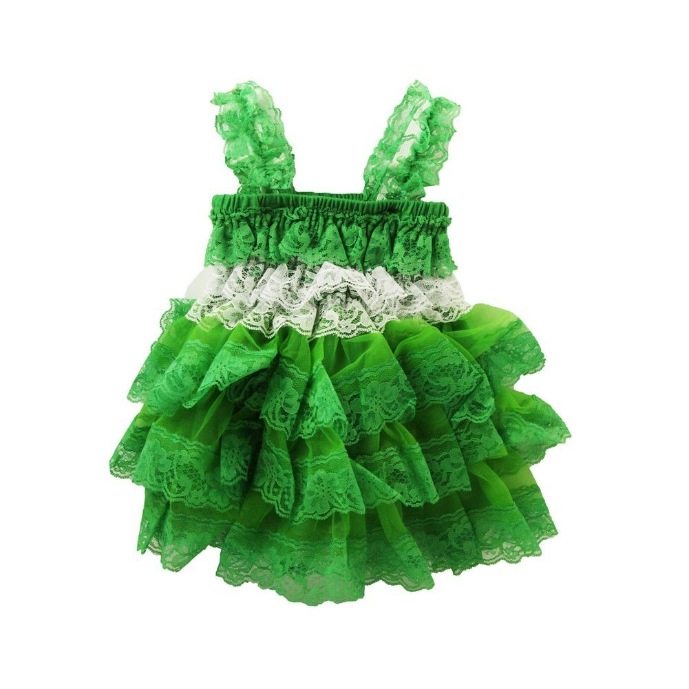 Dress Up Dreams Boutique Little Girls Kelly Green White Lace Ruffle Precious Dress 2 - 3T