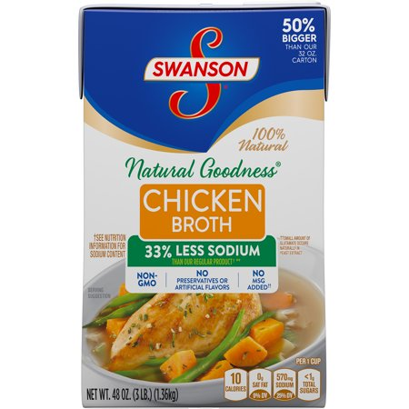 ((3 Cartons) Swanson Natural Goodness Chicken Broth, 48 oz)