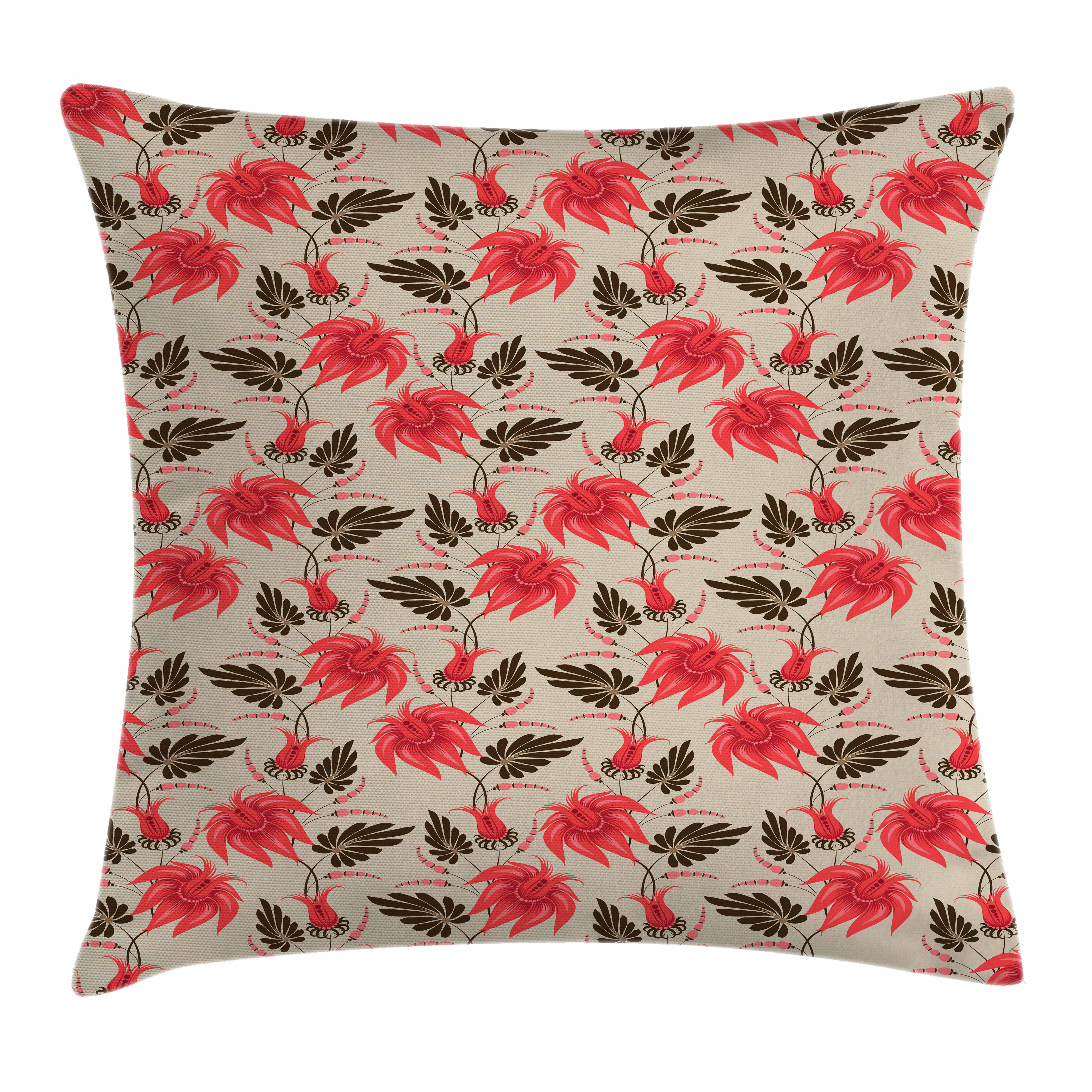 red and brown throw pillow cushion cover vintage tropical flora antique classical summer. Black Bedroom Furniture Sets. Home Design Ideas