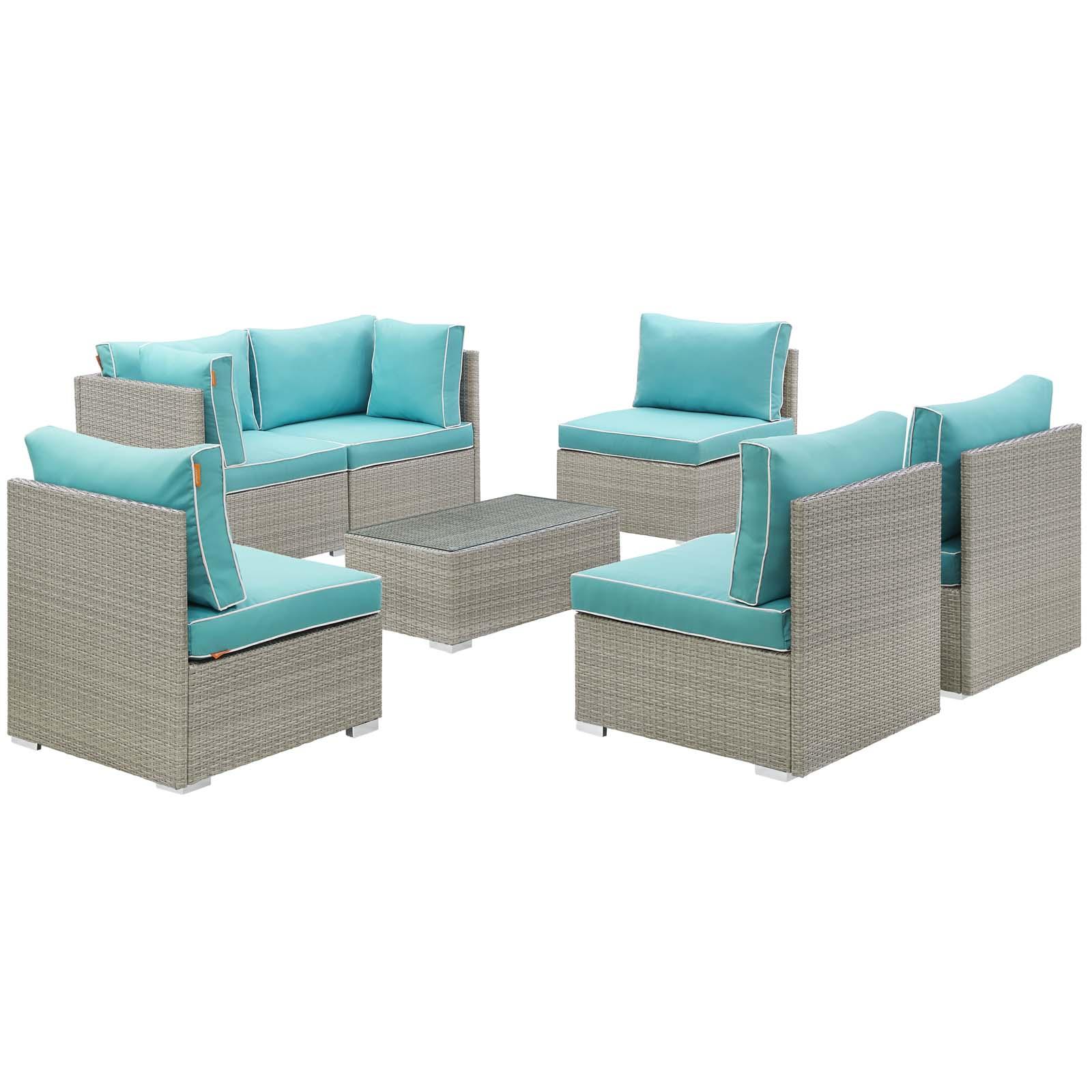 Modern Contemporary Urban Outdoor Patio Balcony Garden Furniture Lounge Sectional Sofa and Table Set, Sunbrella Rattan Wicker, Blue Light Gray