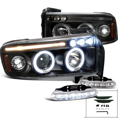 Spec-D Tuning 1994-2001 Dodge Ram 1500 Halo Black Projector Headlights + Bumper Led Fog Lamps (Left + Right) 1994 1995 1996 1997 1998 1999 2000 2001 (Halo Led Projector Headlights Bumper)