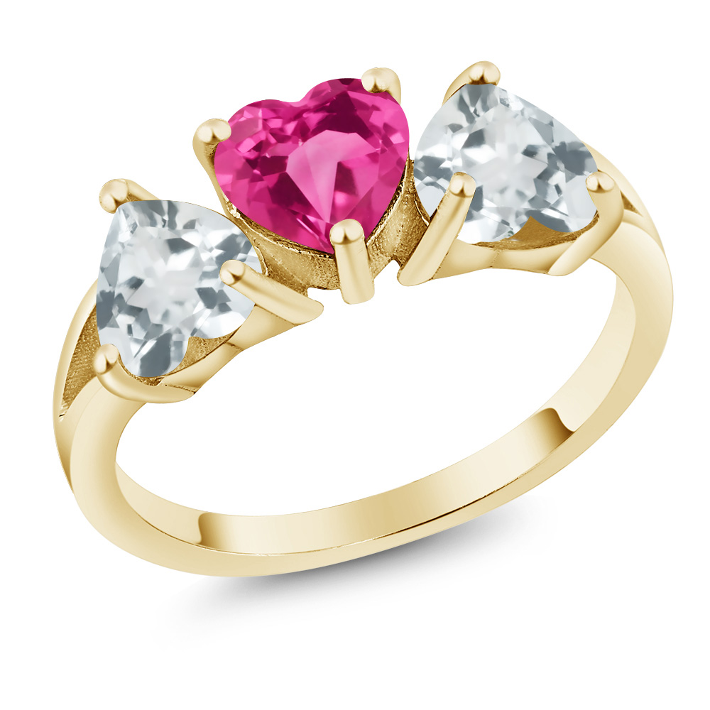2.14 Ct Pink Created Sapphire Sky Blue Aquamarine 18K Yellow Gold 3-Stone Ring by
