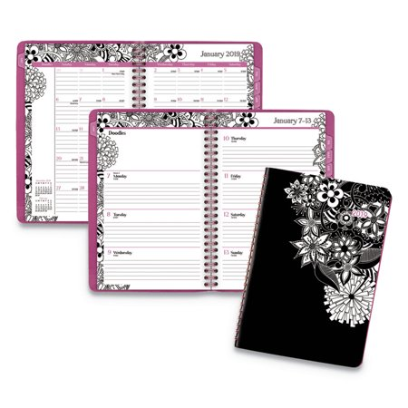 "Cambridge 2019 FloraDoodle Premium Weekly/Monthly Planner, 5 1/2"" x 8 1/2"" (589-200-19)"