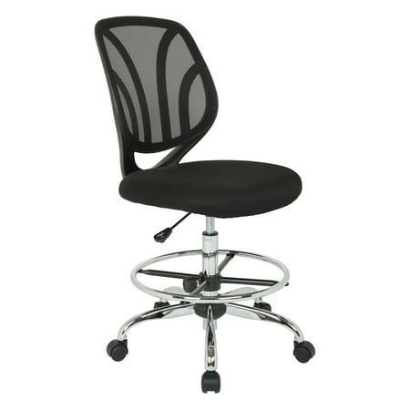Chair Casters Carpet (Work Smart™ Screen Back Armless Drafting Chair in Black Mesh Fabric with Adjustable Footring and Dual Wheel Carpet Casters)