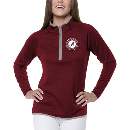 Women's Heathered Crimson Alabama Crimson Tide Double Ring 1/4-Zip - Ring Mistress Jacket