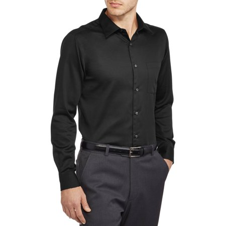 Black Slim Fit Sateen Shirt ()