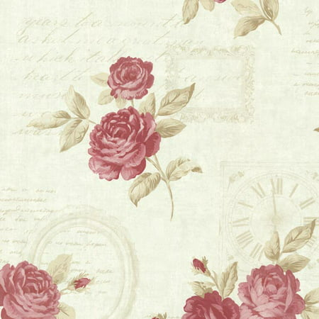 Brewster Venetia Mint Vintage Rose Toss Wallpaper