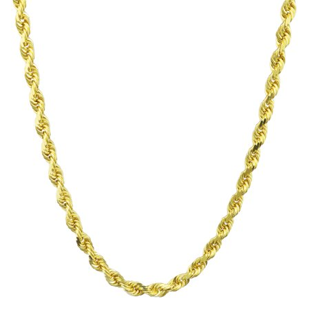 14k Yellow Gold Pendant Chain - 14k Yellow Gold 5mm Hollow Rope Chain Pendant Necklace Unisex, 22