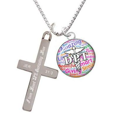 Silvertone Domed Multi Color DPT - Everlasting Love - Cross