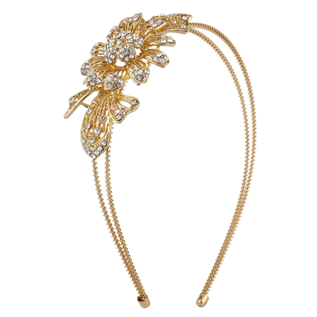 Lux Accessories Gold Tone Crystal Rhinestone Filigree Floral 2 Row Coil Headband
