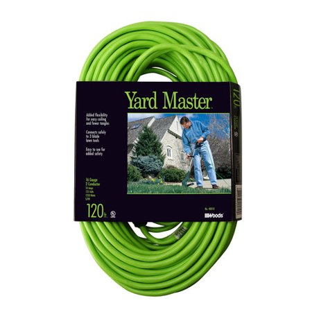 Yard Master Outdoor Garden Extension Cord, Lime, Green, 120-Foot ...