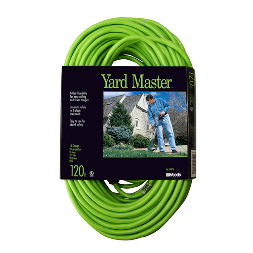 Yard Master Outdoor Garden Extension Cord, Lime, Green, 120-Foot