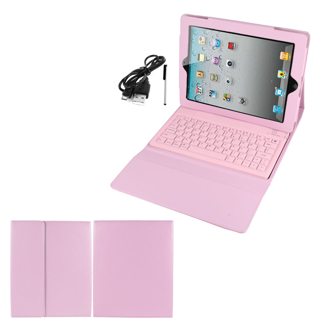 Pink PU Leather   Keyboard Stand Case Cover for iPad 2 3 4