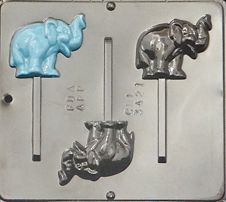 Click here to buy 3421 Elephant Lollipop Chocolate Candy Mold.