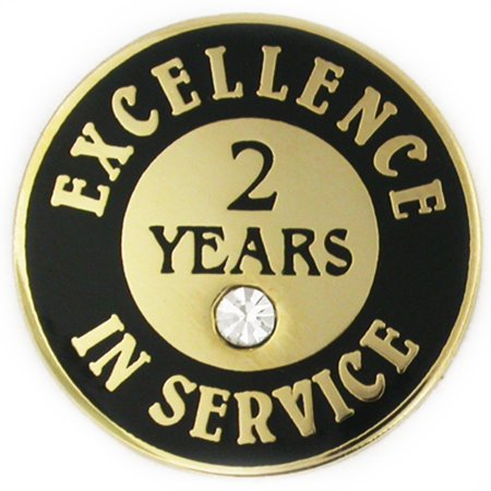 PinMart's Gold Plated Excellence in Service Lapel Pin w/ Rhinestone - 2  years