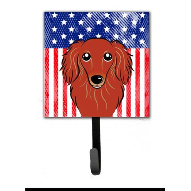 Carolines Treasures BB2143SH4 American Flag & Longhair Black & Tan Dachshund Leash or Key Holder - image 1 de 1