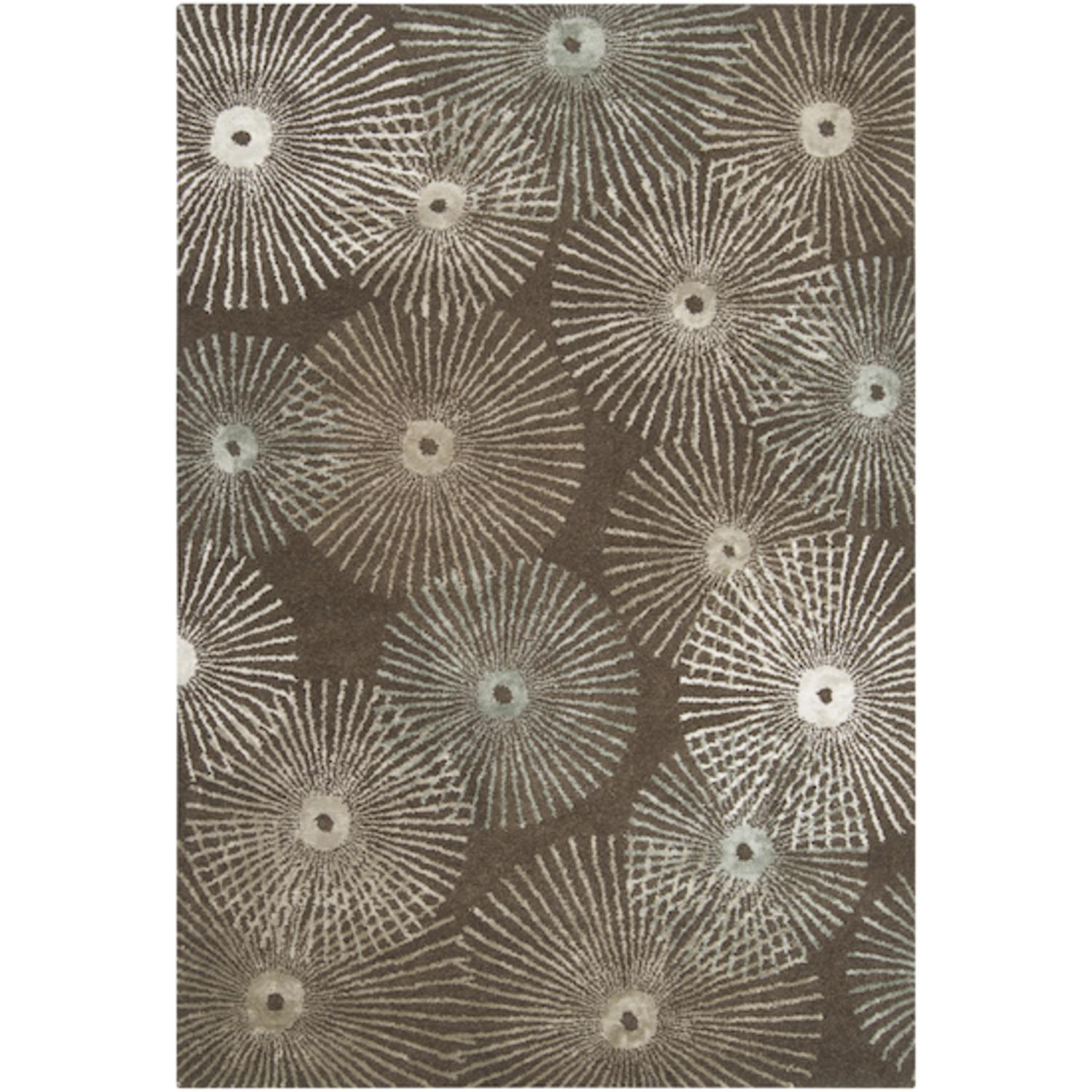 9' x 13' Belle Fleur Army Green & Gray Sage Wool Blend Area Throw Rug