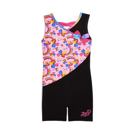 Jojo Siwa by Danskin Colorful Rainbow Dance & Gymnastics Biketard (Little Girls & Big Girls) (Black Leotard Gymnastics)