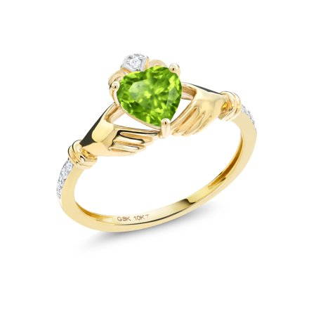 0.83 Ct Heart Shape Green Peridot White Diamond 10K Yellow Gold Irish Celtic Claddagh Ring