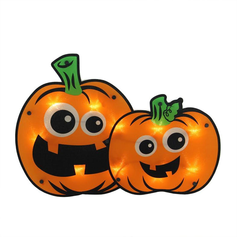 "16.25"" Lighted Jack-o-lantern Pumpkin Couple Halloween Window Silhouette Decoration"