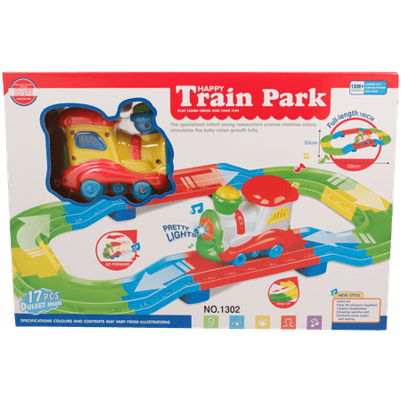 TECHEGE Kids Deluxe Electric Train Set for Childrens Railway Car Toys with Light, Sounds