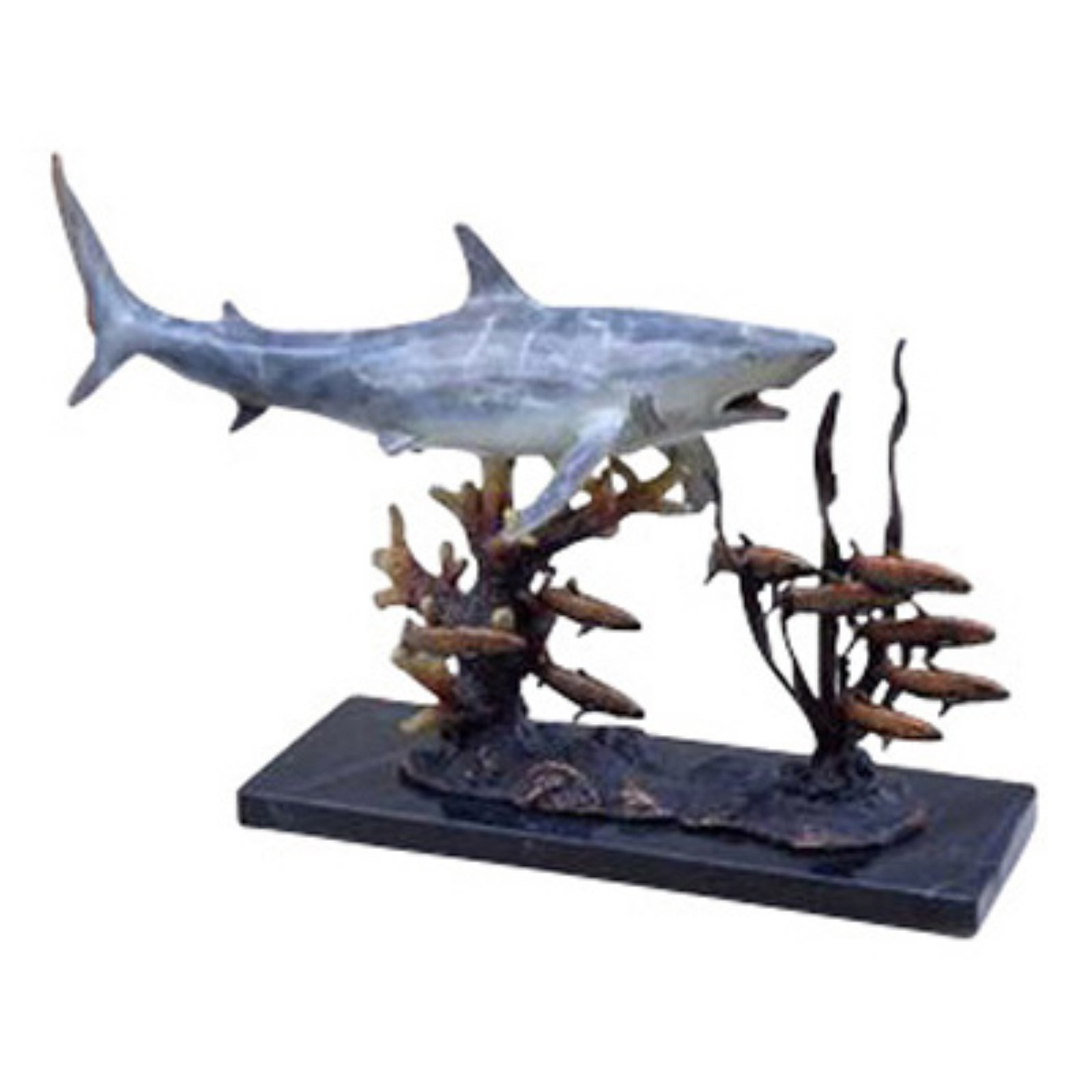 San Pacific International 10H in. Shark with Prey Statue