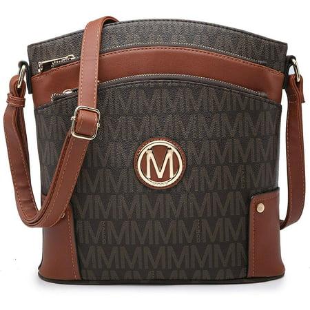 M MARCO Crossbody Purses for Women Multi Pockets Large Crossbody Bags Signature Crossover Shoulder Hobo Bags Monogram