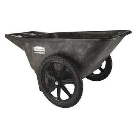 (RUBBERMAID FG564200BLA Big Wheel Cart,HD,1/4 cu. yd.,300 lb.)