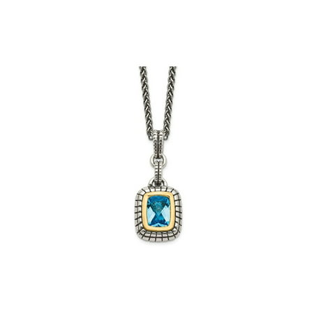 1.75 Carat (ctw) Swiss Blue Topaz Pendant Necklace in Sterling Silver with 14K Gold Accents