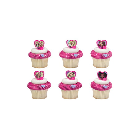 24 Barbie Sweet Sparkles Cupcake Cake Rings Birthday Party Favors - Barbie Cupcake Toppers