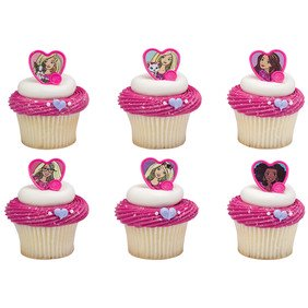 24 Barbie Sweet Sparkles Cupcake Cake Rings Birthday Party Favors - Cupcake Rings Wholesale