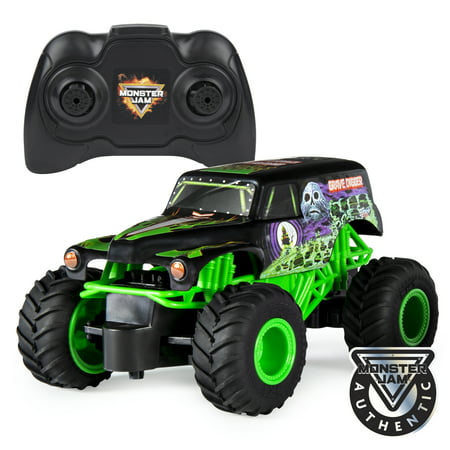 Monster Jam, Official Grave Digger Remote Control Monster Truck, 1:24 Scale, 2.4 GHz, for Ages 4 and Up (Dump Truck Remote Control)