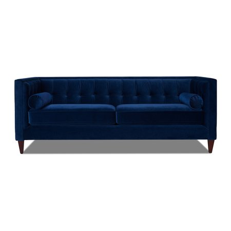 Jack Tufted Tuxedo Sofa Double Cushion, Navy Blue