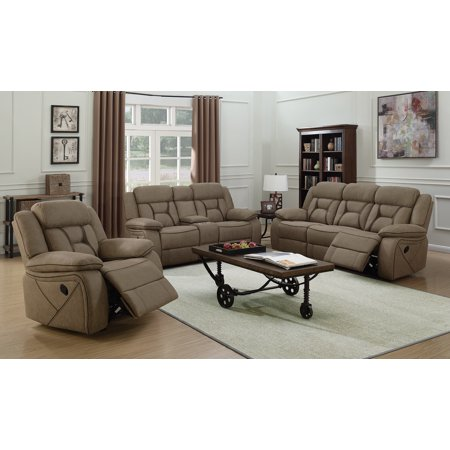 Coaster Leather Loveseat with Tan finish