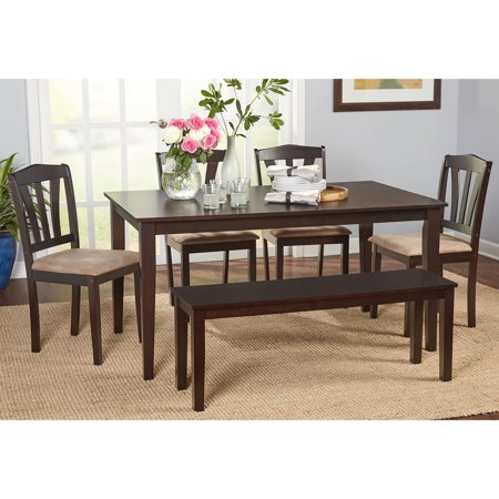 6 Room Furniture Set (Metropolitan 6-Piece Dining Set with Bench, Espresso)