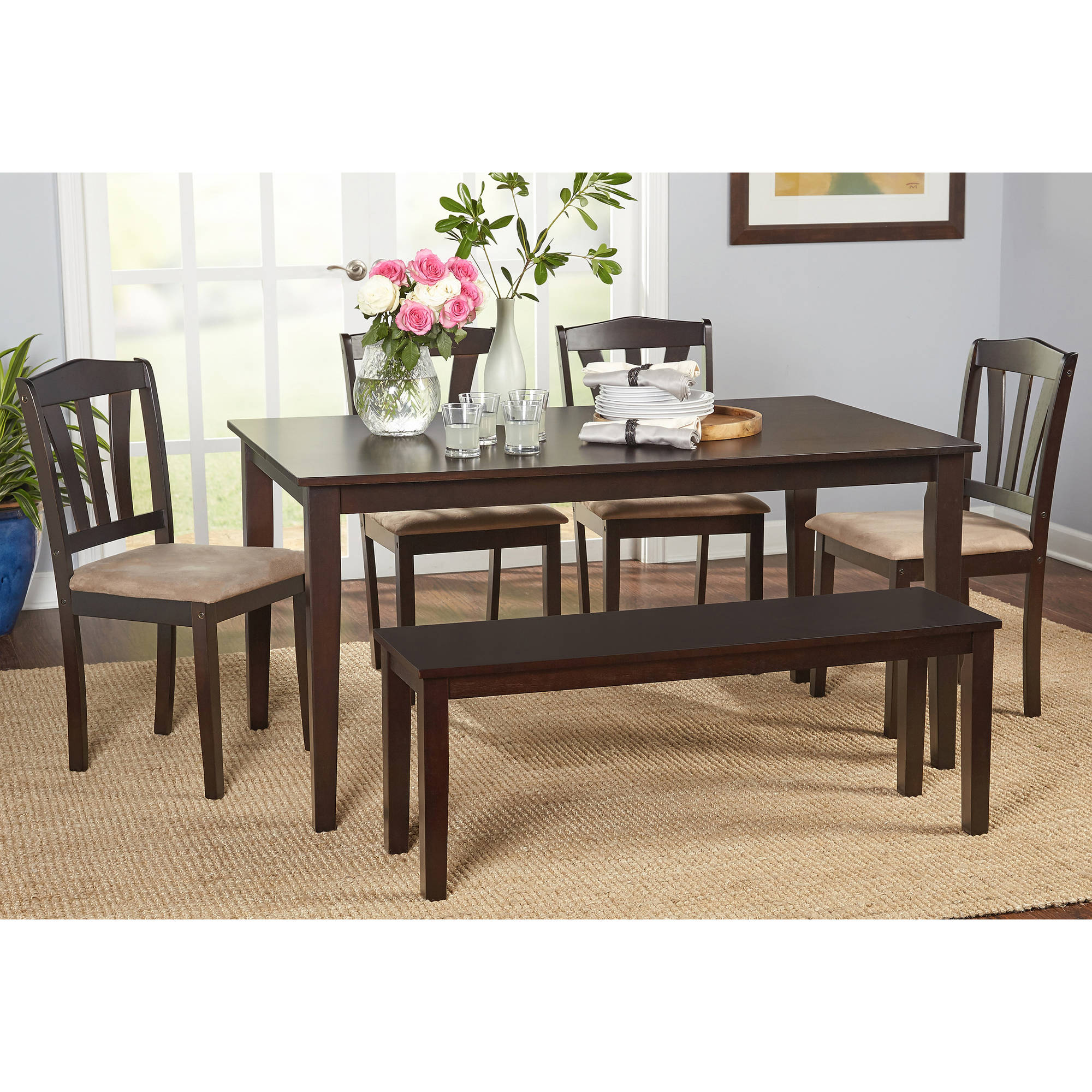 Metropolitan 6-Piece Dining Set with Bench Espresso Box 1 of 2  sc 1 st  Walmart & Dining Table Sets with Benches