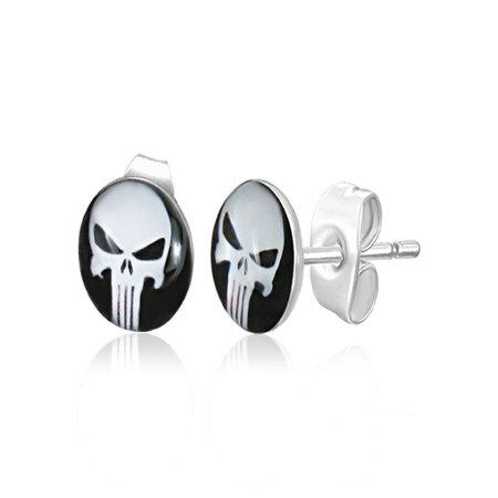 7mm Stainless Steel 2 tone Skull Ghost Circle Stud Earrings pair Circle Two Tone Earrings