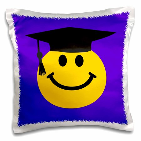 3dRose Graduate smiley cartoon - graduating happy face with black grad hat - high school university - blue - Pillow Case, 16 by 16-inch (Graduate Hat)