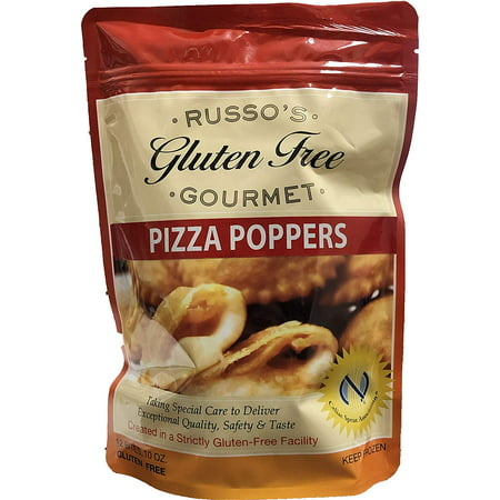 Russos Gluten Free Pizza Poppers, Bite size - 10oz (Pack of 3) The Best Tasting Pizza in Market with Fresh Mozzarella Cheese wrapped (Shipped Frozen)!!