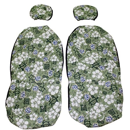 Hawaiian Car Seat Covers with Separated Headrest, Green Tapa, Set of 2 Front Bucket Seat Covers